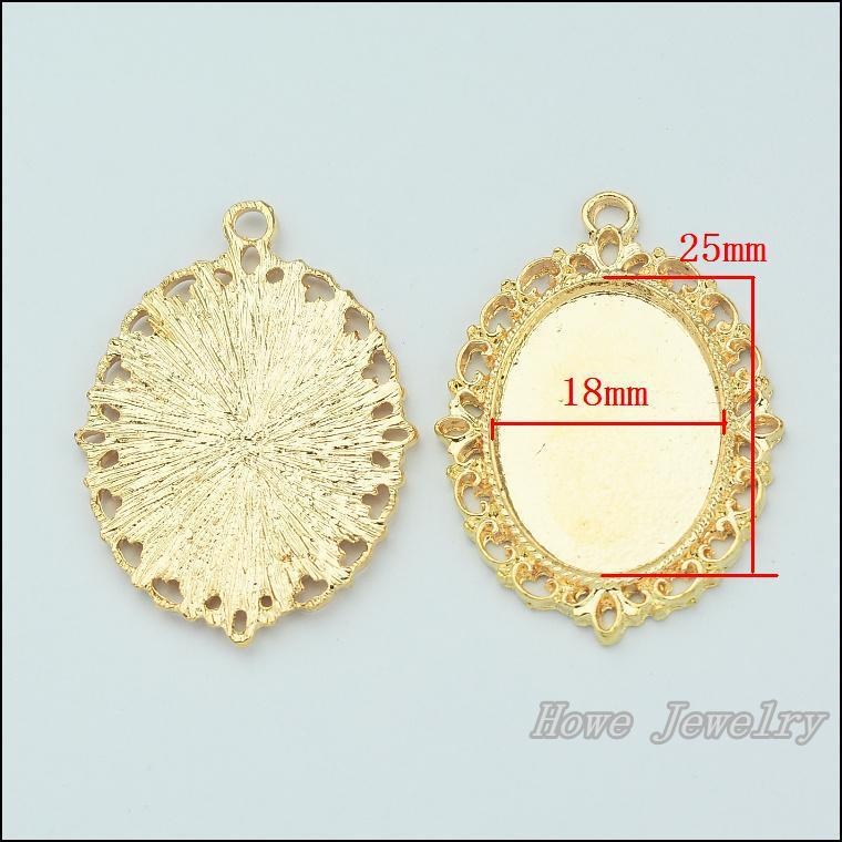 5 pcs quality Champagne Gold Oval frame alloy Pendant Charm Women\'s ...