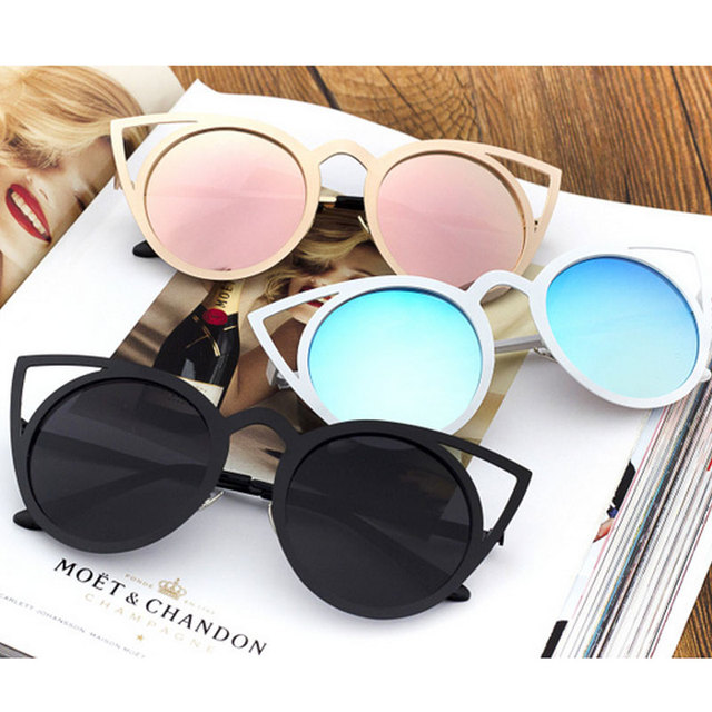 fcc677fdd6 2019 Vintage Cat Eye Sunglasses Women Brand Designer Sun Glasses For Ladies  Fashion Cateye Mirror Colorful Shades gafas de sol