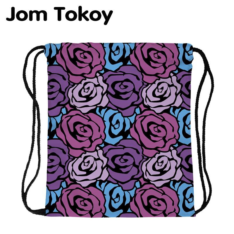 JomTokoy Fashion Women Waterproof Backpack Flowers Printing Travel Softback Women Mochila Drawstring Backpacks Skd29054