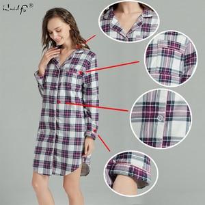 Image 3 - Plus Size 100% Katoen Vrouwen Flanel Vriendje Nachthemd Nachtjapon Nachthemd Roze Plaid Kat Nachtkleding Sleepshirt Nightgowns