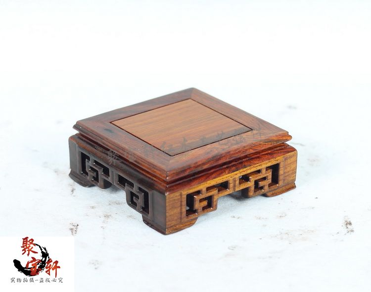 Annatto square seal base solid wood jewelry jade vase stone carving handicraft furnishing articles on sale special rosewood carving annatto handicraft circular base of real wood of buddha flowerpot stone vases furnishing articles