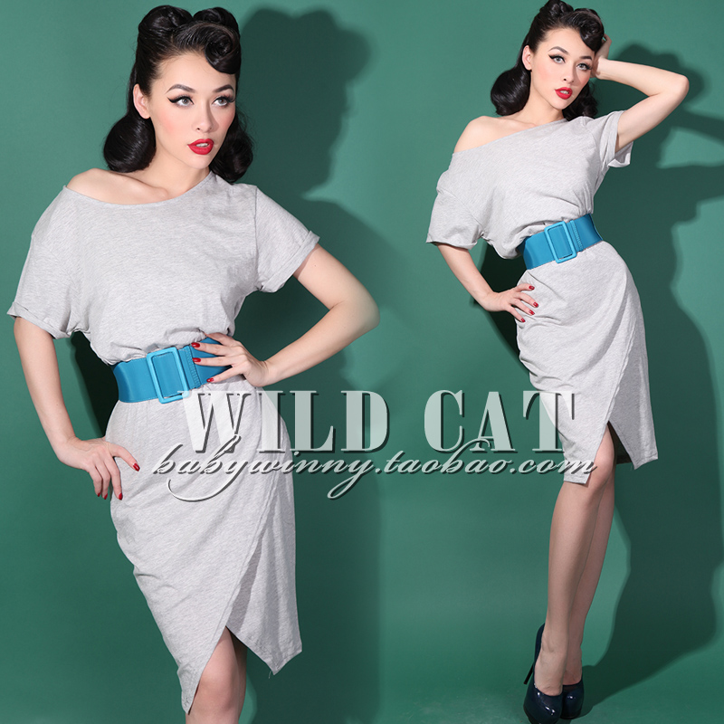 Livraison gratuite mode all-match bref gris clair confortable coton lâche placketing robe à manches courtes