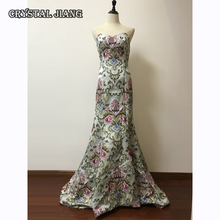 Ligh Blue Mermaid Dresses 2017 Fall Winter Court Train Evening Gown Embroidery Retro Foraml Dress Customized Real Photos