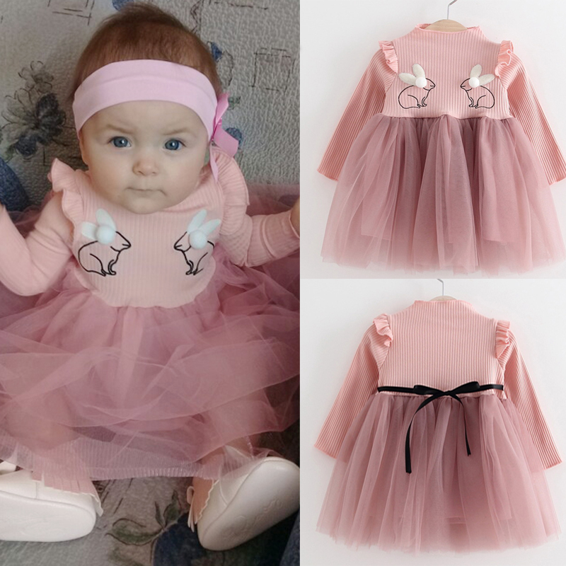 Bebes Clothing Princess Baby Girl Dress Clothes Embroidery Rabbit Pattern Newborn Outfits Toddler Party Dresses Infant Costumes