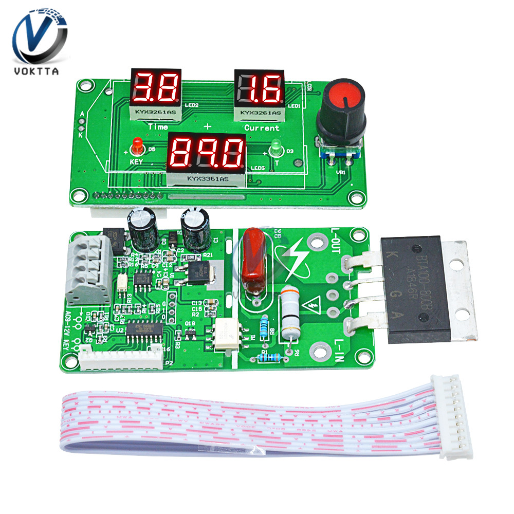 40A/100A Spot Welder Time Controller Module LCD Digital Display Board Single Pulse Encoder 18650 Welding Battery Spot Welder