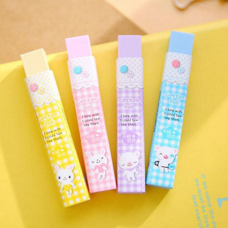 New Creative Cute Cartoon Candy Color 2b Eraser Child Student Exam Calibration Stationery Gift School Office Supplies 2pc