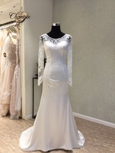2016 Detachable Ball Gown Wedding Dresses Bateau Long Sleeves Button Back Sweep Train Bridal Gowns Vestido De Noiva