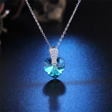 Heart Shape Austrian Crystal Necklaces 925 Sterling Silver Romantic Women Jewelry Statement Necklace opal