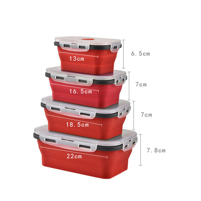 Convenient Folding Silicone Lunch Box Picnic Food Storage Can Heated