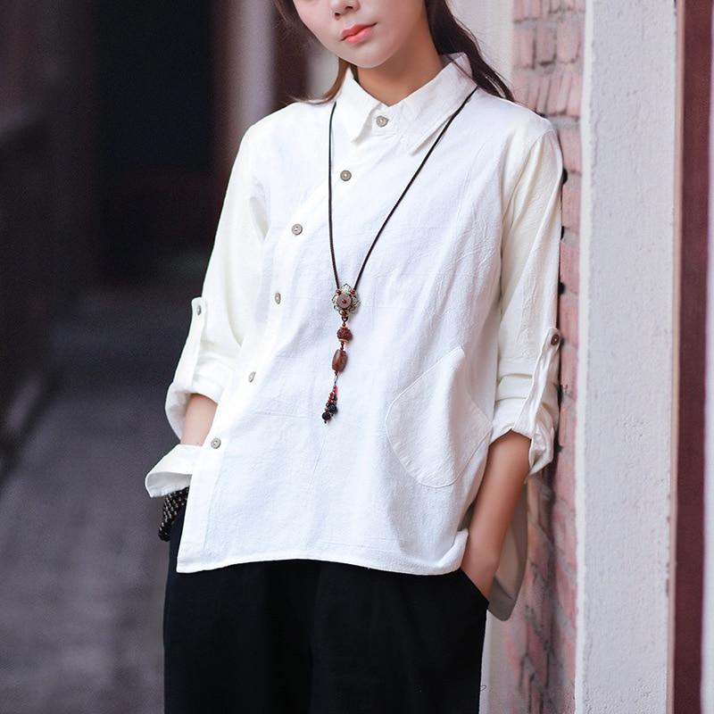 Long sleeve Solid Cotton Linen Women   Blouse     Shirt   Novelty Design Loose Casual Summer   Shirt   Tops White Vintage Blusas Femme C096