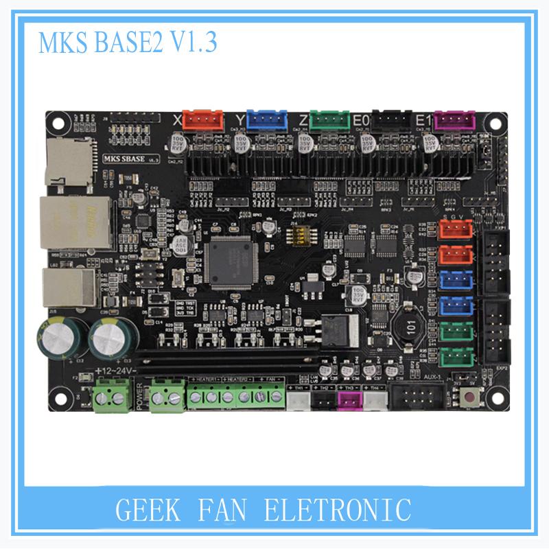 Prix pour 3 Dprinter Smoothieware carte contrôleur MKS BASE V1.3 opensource 32bit Smoothieboard Bras soutien Ethernet préinstallé radiateur