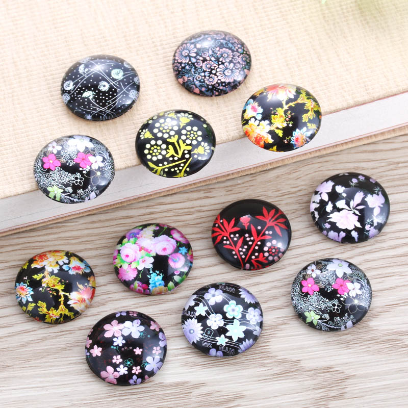 TYLFNL 50 Pcs Mix Flower Pattern Round Glass Cabochon 16mm 18mm Dome Flat Back DIY Jewelry Finding S-010402