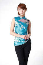 Fashion Blue Chinese Women's Polyester Shirt Tops Peafowl Printed Blouse Vintage Tang Suit Dropshipping Size S M L XL XXL A005-C