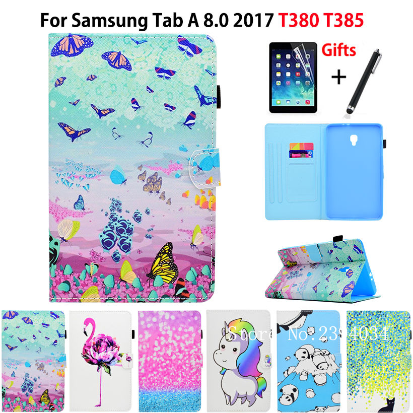 Cartoon Colorful Case For Samsung Galaxy Tab A 8.0 T380 SM-T385 2017 Smart Cover Funda Tablet Stand PU Leather Shell+Film+Pen tablet case for samsung galaxy tab 3 8 0 sm t310 t311 t315 smart case cover cartoon print silicon tpu pu leather shell funda