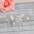 Fashion Flower Leaf Bridal Hair Comb Pin Rhinestone Crystal Wedding Hair Combs Accessories Silver Jewelry