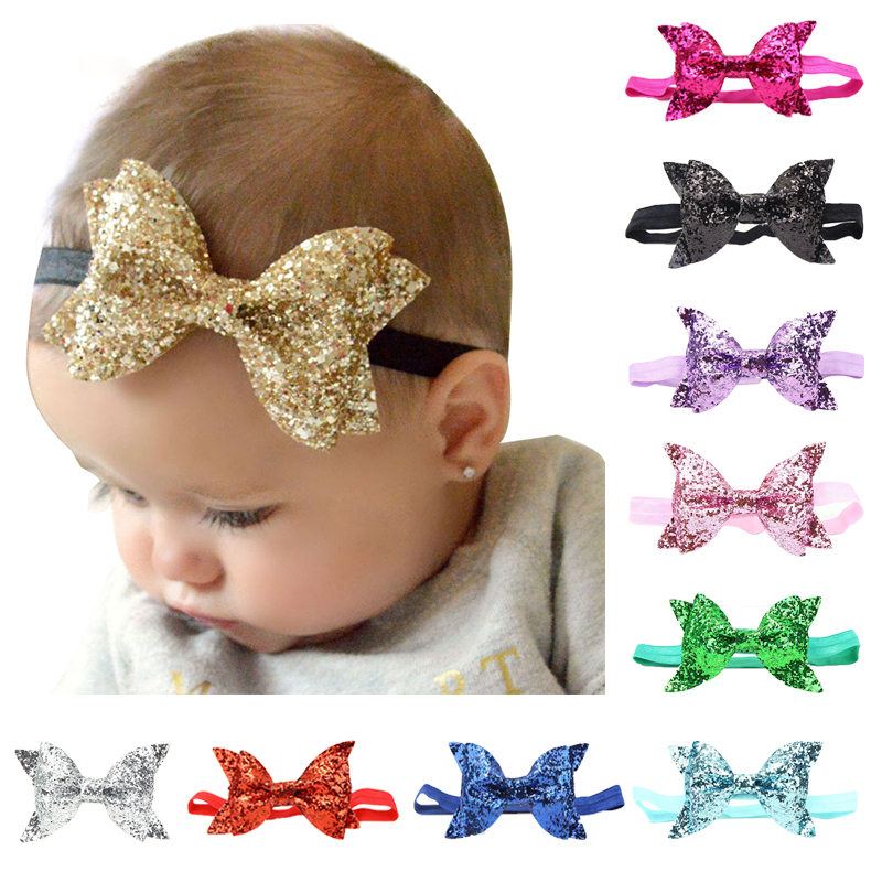 Fashion Baby Hairbands For Girls Big Bow Baby Headband With Sequin Newborn Infant Kids Headwear Photo Props