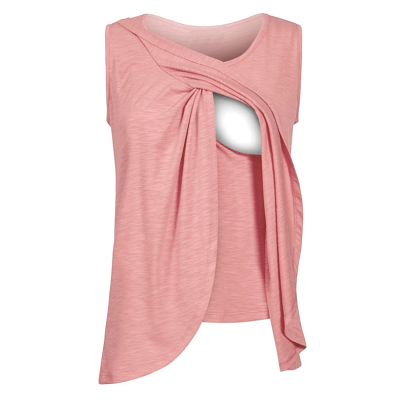 Plus Size Nursing Tops Maternity Breastfeeding Clothes For Pregnant Women Sleeveless Feeding Tees T-shirt Gravidas Clothing 2019