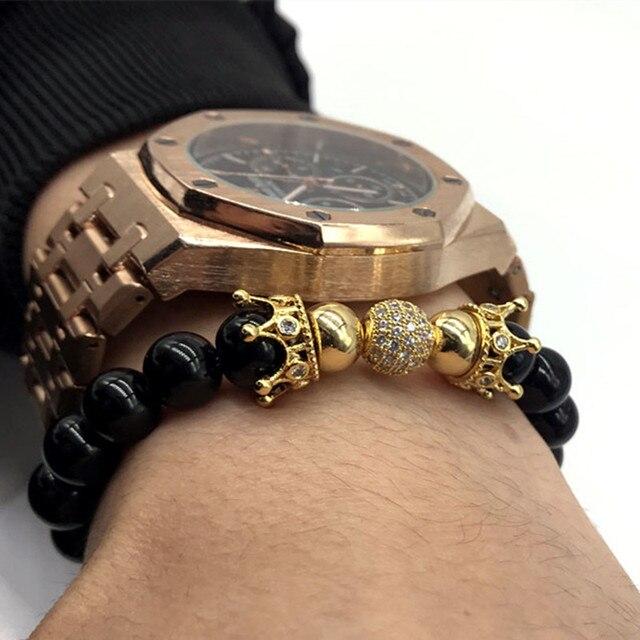 bc3c7e56bf67 NAIQUBE nueva moda corona pulseras y 8mm bola brazalete piedra pulseras  para hombres o mujeres joyas