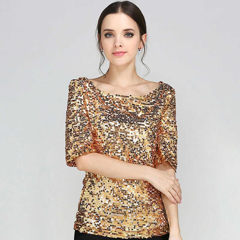 1d137bc536f New Half Slveeve Slash Neck Sequins Mesh Sexy Slim T-shirt Women Plus Size S