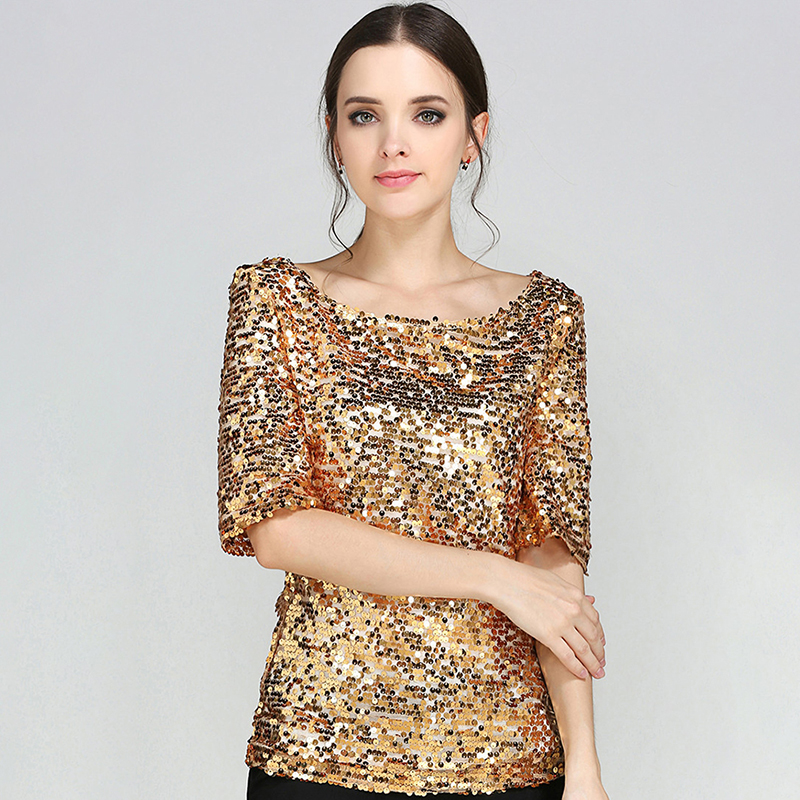 New Half Slveeve Slash Neck Sequins Mesh Sexy Slim T-shirt Women Plus Size S-5XL Tee Shirts Silver Gold Black Casual Tops