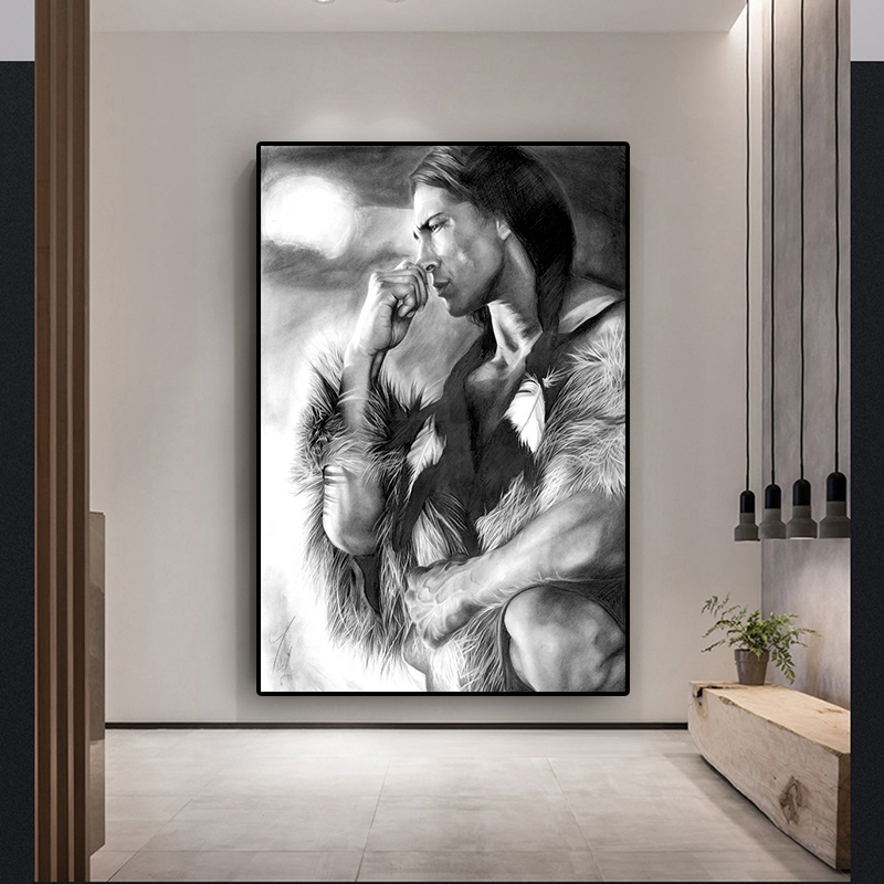 Black and White Native Indian Figure Canvas Painting Posters and Prints Scandinavian Wall Art Picture for living room(China)