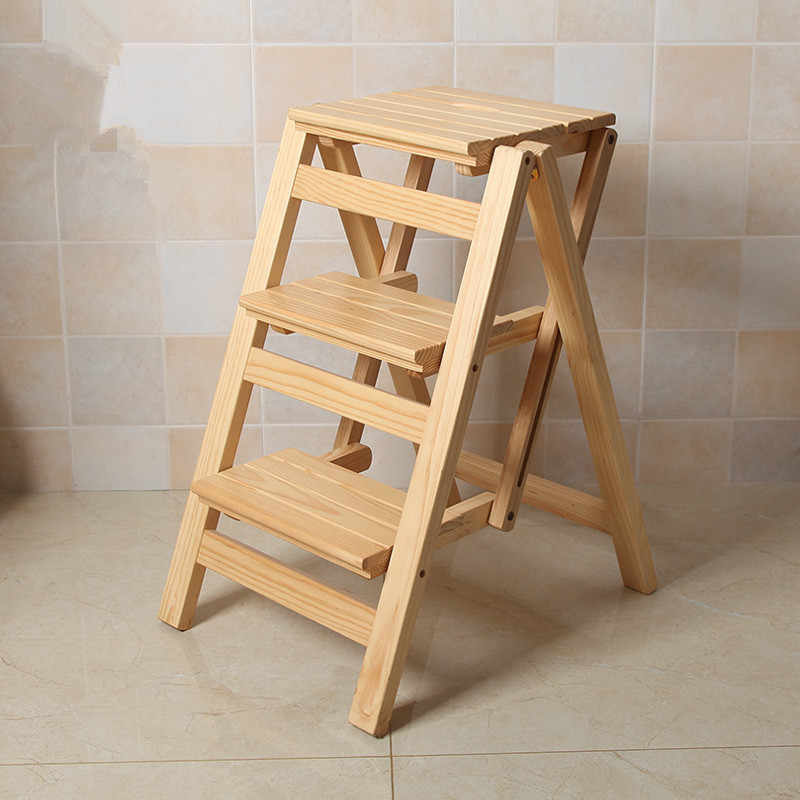 Strange Multi Functional Ladder Stool Chair Bench Seat Wood Step Stool Folding 3 Tier For Any Task Around The Kitchen Office Bathroom Gmtry Best Dining Table And Chair Ideas Images Gmtryco