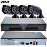 GADINAN ONVIF HD CCTV System 1080P 8CH NVR And 4PCS 720P IP Outdoor Video Surveillance Security