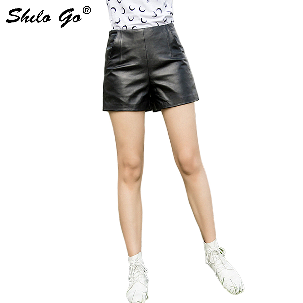 Streetwear Leather Shorts Women Casual Zip High Waist Sheepskin Genuine Leather Straight Shorts Concise Black Female Hot Shorts