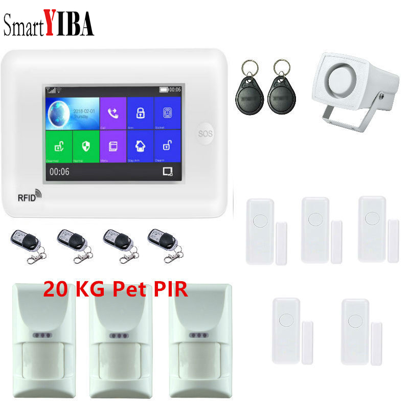 SmartYIBA GSM&WIF ALARM SYSTEMS SECURITY HOME Kit WIRELESS HOME BURGLAR ALARM Security System Video IP Camera PIR Motion Sensor 433 mhz wireless camera security system mini ip camera wifi gsm alarm systems for home with door sensor infrared pir motion