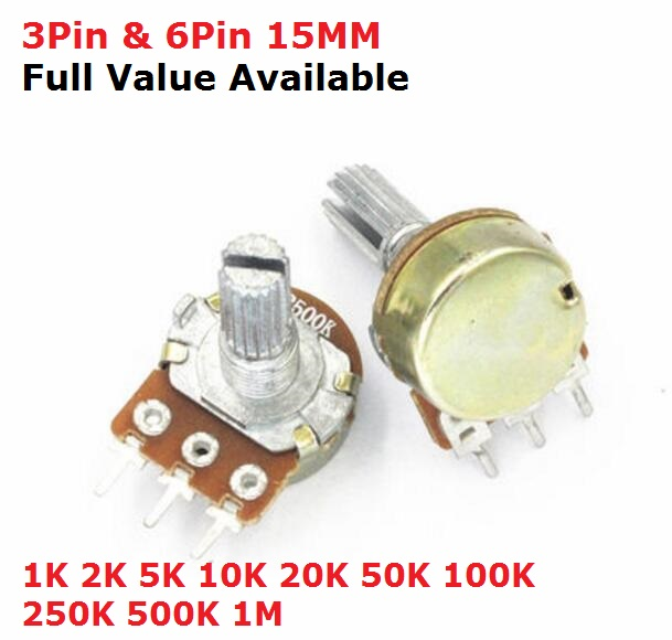 5PCS WH148 B 1K 2K 5K 10K 20K 50K 100K 250K 500K 1M 3Pin 6pin 15mm Shaft Amplifier Dual Stereo Potentiometer B1/2/5/10/50/100K