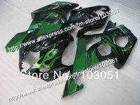 Injection high grade for 2003 suzuki gsxr 1000 fairings K3 2004 GSXR 1000 fairing 03 04 green flame in glossy black Dm21
