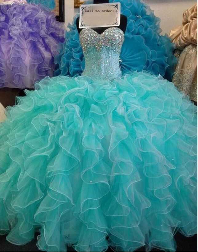 Long Ball Gowns Mint Green Quinceanera Dresses Sweetheart