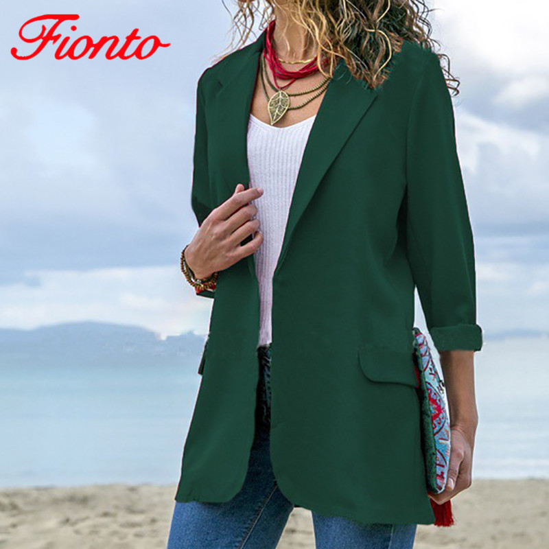 FIONTO 2019 Women's Fashion Jackets Solid Green Blazers Lapel Collar Slim Fit Long Sleeve Cardigan Casual Blazer Female AN1063