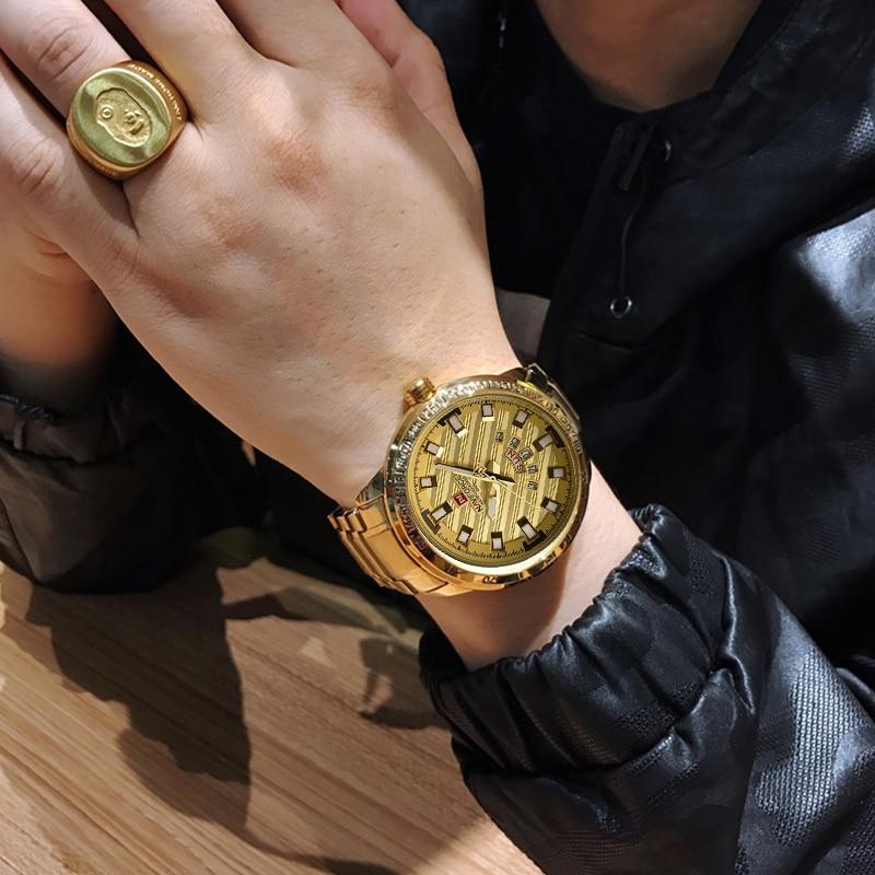 NAVIFORCE New Fashion Gold Analog Quartz Wrist Watch Men Top Luxury Brand Waterproof Sports Watches Clock Male Relogio Masculino