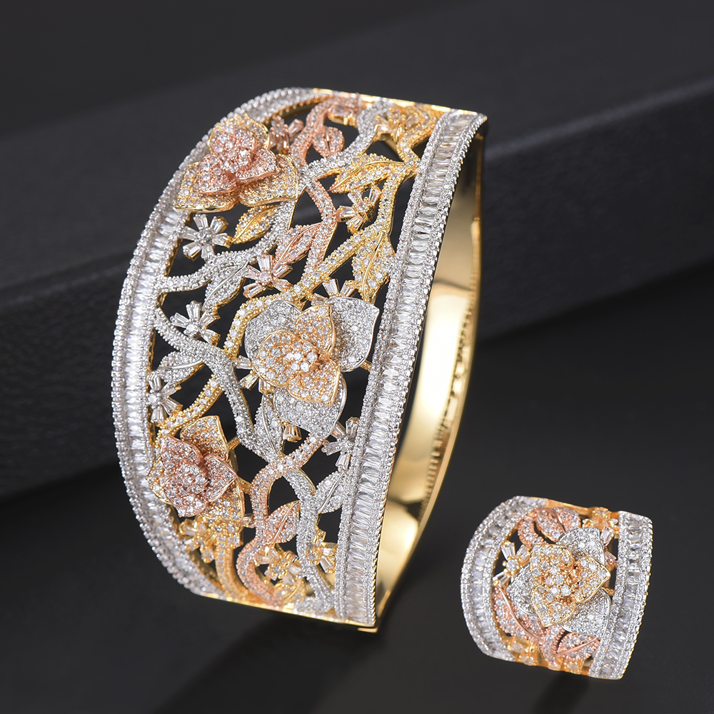 2 PCS Deluxe Wide surface Flower Shape Hollow Bangle Bracelet Ring jewelry sets CZ Jewelry Sets For Women Engagement цена