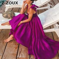 Z ZOUX Women Dress Asymmetrical Sleeveless Sling Vintage Dress Irregular Bandage Plus Size Sexy Dress Women 2019 New Fashion