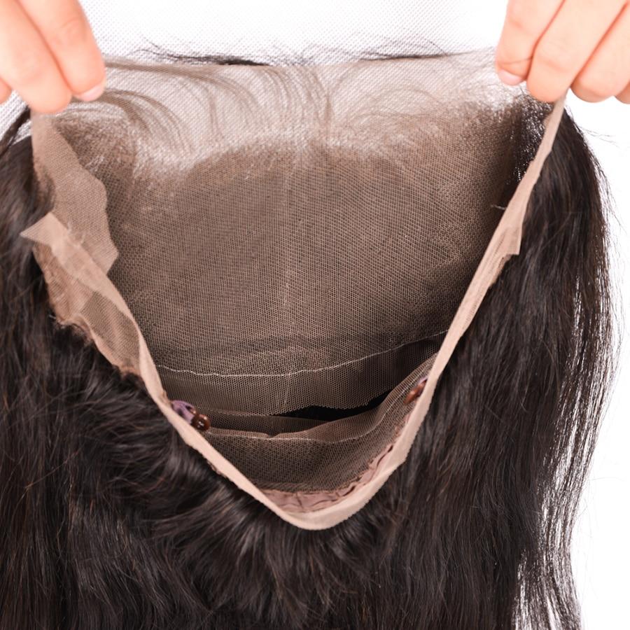 Mslynn Para këputur 360 Dantel Mbyllja frontale me flokë për - Flokët e njeriut (të zeza) - Foto 5