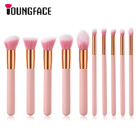 Professional 10pcs Pink Makeup Brushes Set Beauty Powder Foundation Contour Eyeshadow Eyebrow Cosmetic Make Up Brushes