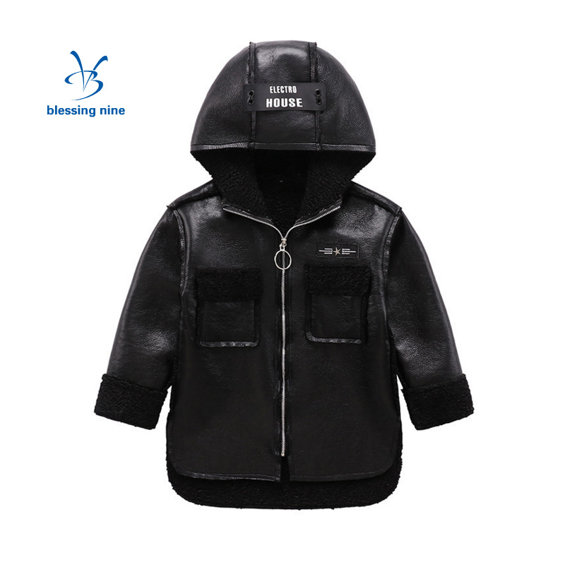 Kids Boys Winter Jacket Zipper Outerwear Hooded Coats Thicker PU Leather Top Fashion Waterproof Windproof Children Clothes 5-12Y