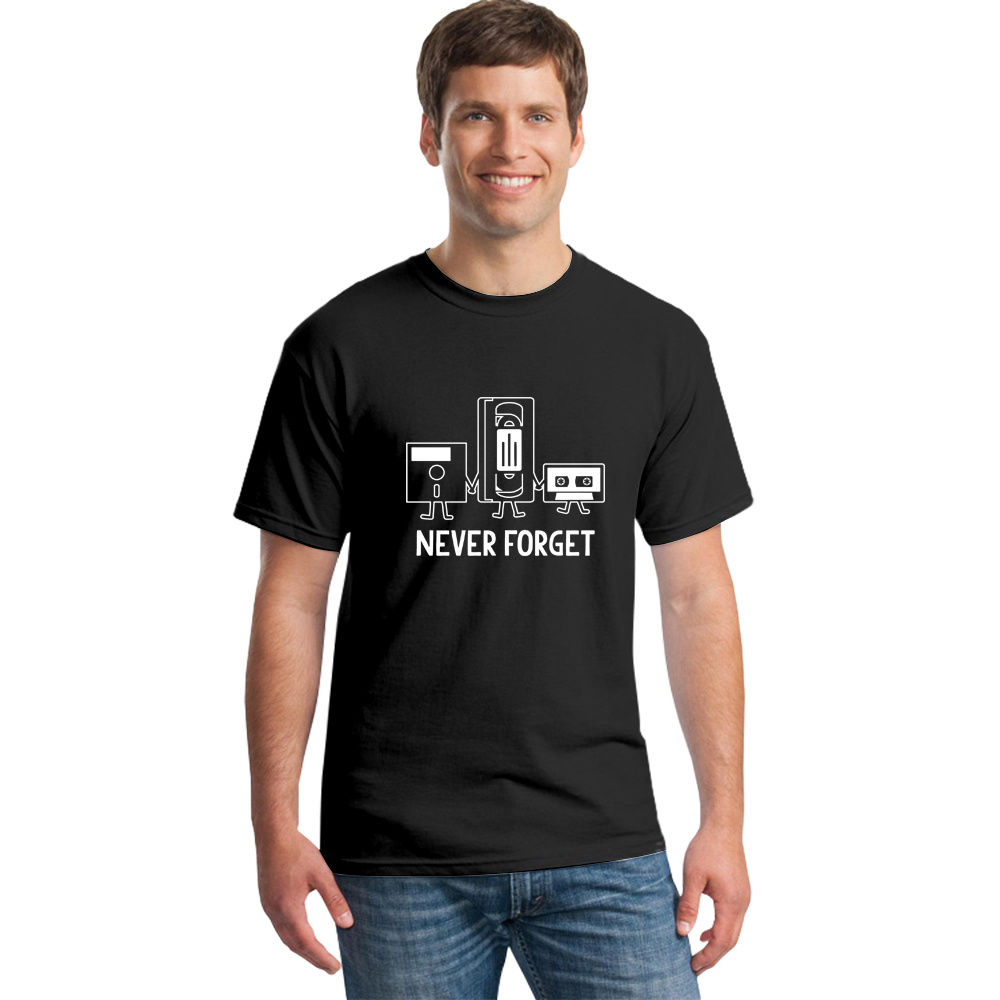 New Fashion T-shirts Men Short Sleeve Never Forget Floppy Disc VHS Cassette Tech Geek Print T Shirts Male Cotton Casual Tshirts