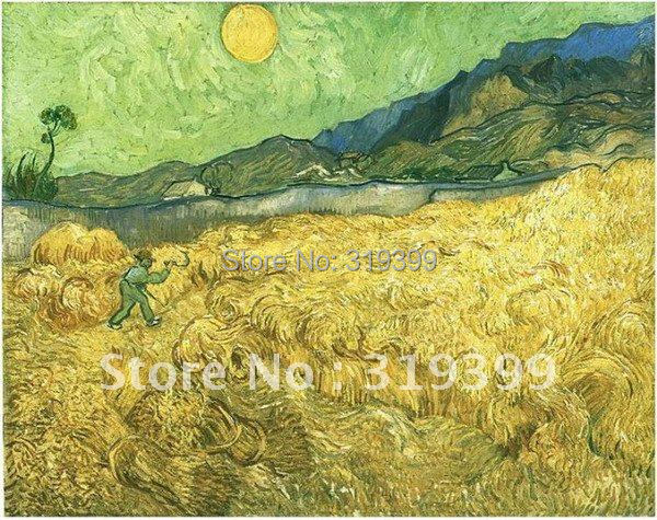 handmade Oil Painting reproduction on linen canvas,Wheat Fields with Reaper at Sunrise by vincent van gogh,Free DHL Shipping
