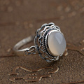 GZ S925 Thai Silver Rings for Women Jewelry 925 Sterling Silver Natural Chalcedony Ring anillos Male