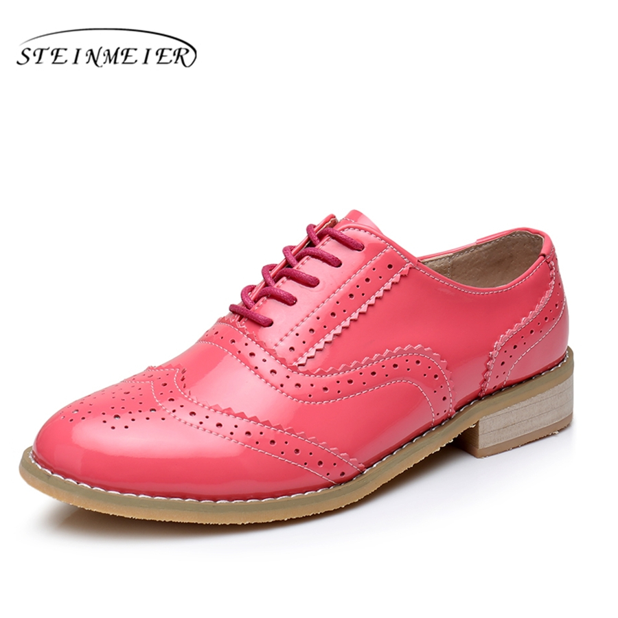 Genuine leather big woman US size 11 designer vintage flat shoes round toe handmade red 2019 oxford shoes for women with fur 2016 genuine leather big woman size 11 designer vintage flat shoes round toe handmade blue pink beige oxford shoes for women fur
