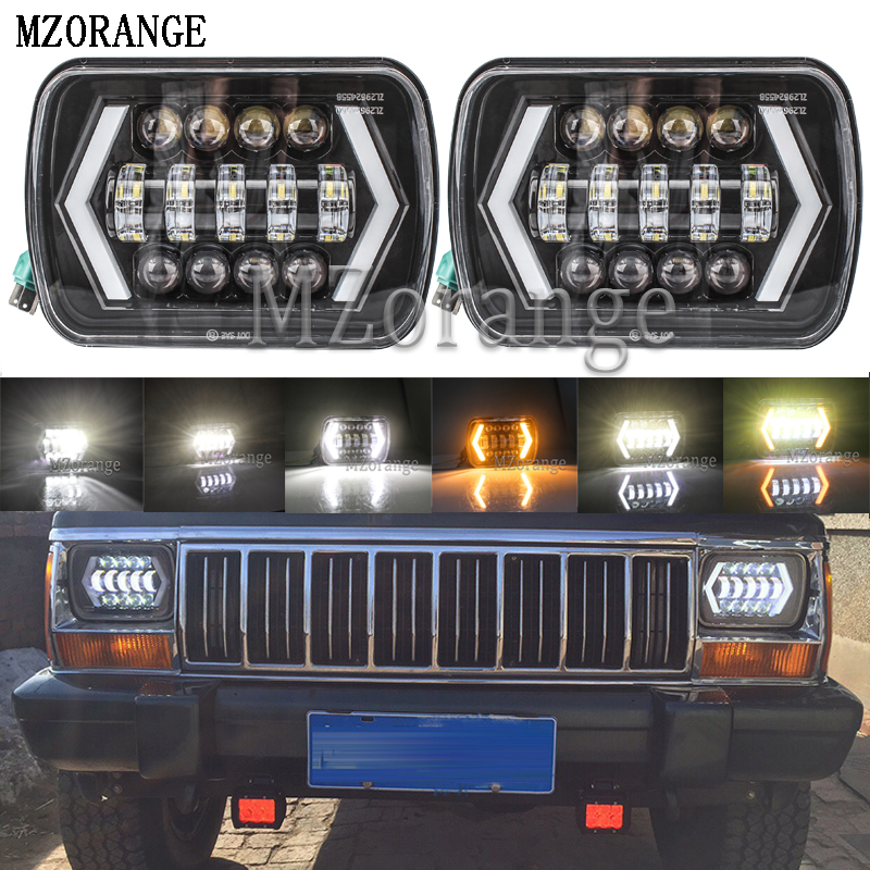 MZORANGE 55W 7x6 5X7 LED Headlight Halo DRL 86 95 For Jeep Wrangler YJ 84 01