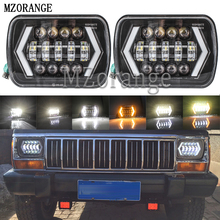 MZORANGE 55W 7x6 5X7 LED Headlight Halo DRL 86-95 For Jeep Wrangler YJ 84-01 Cherokee XJ Angel Eyes H4 Square Headlights
