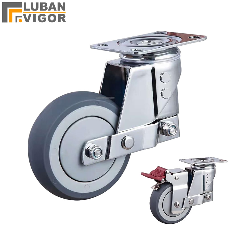 Silent damping universal wheel with spring, TPR wheel anti-seismic caster,for Heavy equipment,gate,Industrial casters