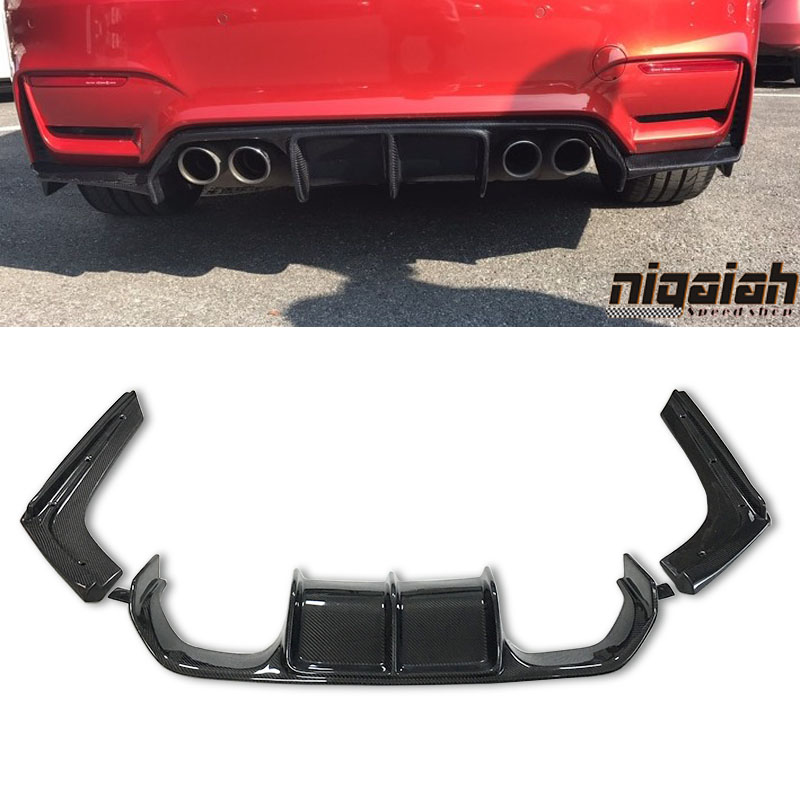 New Arrival F80 M3 F82 M4 V Styling 3pcs Carbon Fiber Rear Bumper Lip Diffuser For