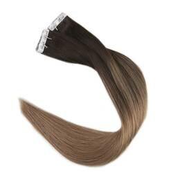 Полный блеск 100 г Darkest коричневая лента в наращивание волос клей красочные Ombre волосы remy #2 выцветания до #8 клей на волосы Extensiones
