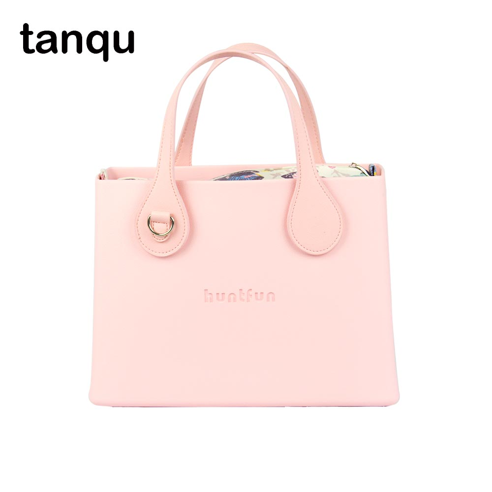 tanqu huntfun EVA square Bag with floral Insert flat D buckleHandle waterproof Obag style women O bag Handbag new colorful cartoon floral insert lining for o chic ochic canvas waterproof inner pocket for obag women handbag