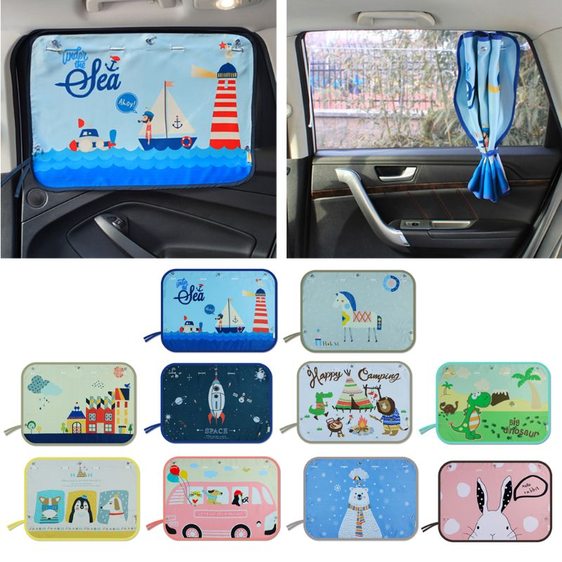 70*50CM Children Car Side Window Sunshade Cartoon Curtain Sun Visor UV Protection Curtain For Boys Kids Cars Rear Side Cover